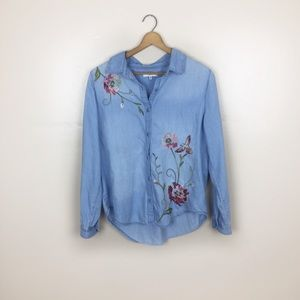 [Kensie Jeans] Embroidered Chambray Top